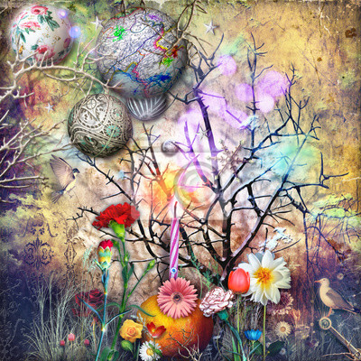 Bosco delle fiabe con stelle, fiocchi di neve magici fiori fantastici e tropicali