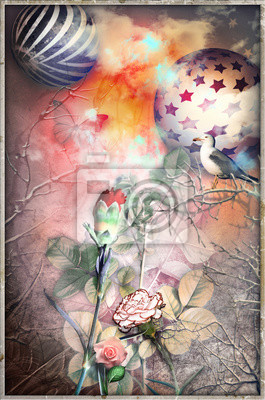 Bosco incantato delle favole con fiori,colomba,astri,fiori e garofano rosso