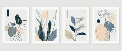 Bild Botanical and gold abstract wall arts vector collection.  Golden and luxury pattern design with Tropical leaves line arts, Hand draw Organic shape design for wall framed prints, cover and poster.