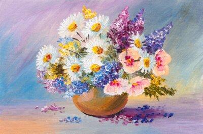 Bild bouquet of summer flowers, still life oil painting