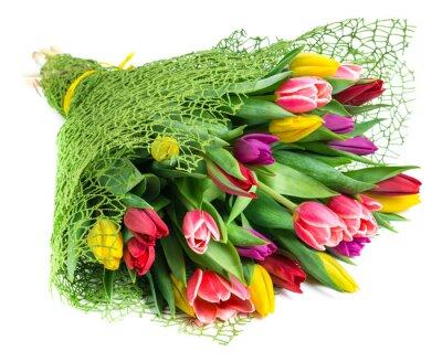 Bild Bouquet von 25 bunte Tulpen, isoliert auf weißem Hintergrund