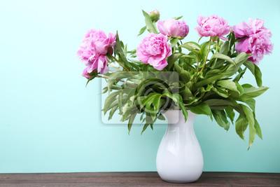 Bouquet Von Pfingstrose Blumen In Vase Auf Minze Hintergrund