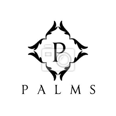 Boutique brand logo, palmen logo, p-logo, wappen-logo, vektor-logo ...