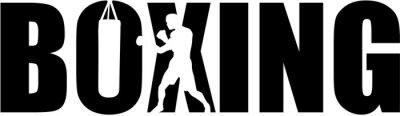 Bild Boxen mit Boxer Silhouette