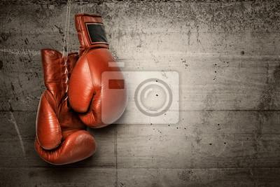 Bild Boxhandschuhe hängen an Betonwand