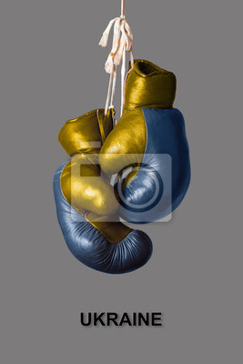 Boxhandschuhe in der Farbe der Ukraine