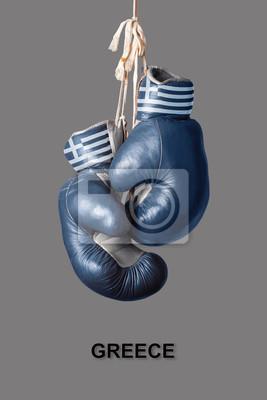 Boxhandschuhe in der Farbe von Griechenland
