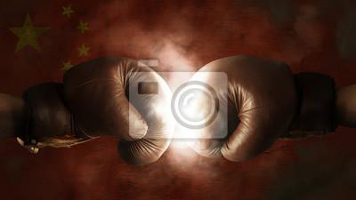 Boxhandschuhe mit der Flagge von China