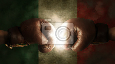 Boxhandschuhe mit der Flagge von Italien oder Mexiko
