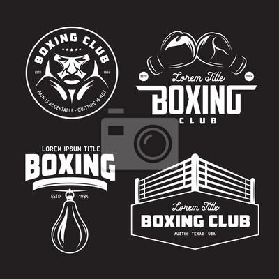 Bild Boxing Club Etiketten gesetzt. Vektor Jahrgang Illustration.