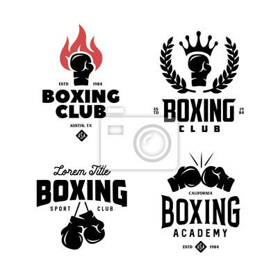Bild Boxing club labels set. Vector vintage illustration.