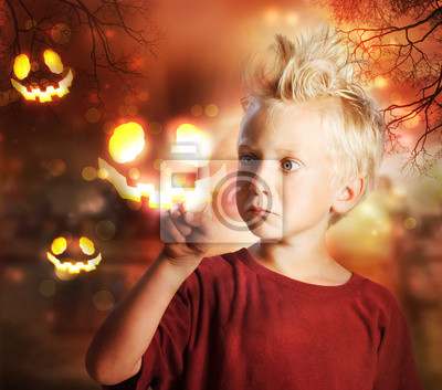 Boy Berühren Halloween-Geist