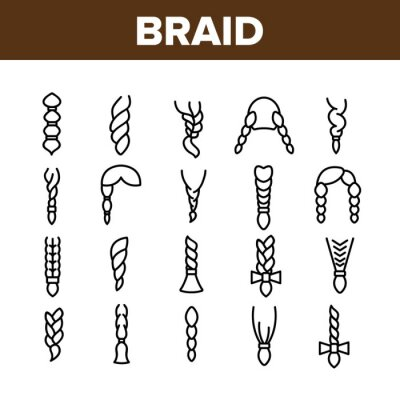 Bild Braid Bread Hairstyles Collection Icons Set Vector Thin Line. Long Female Braid, Braided Hair Style With Bow-knot, Fashion Pigtail Concept Linear Pictograms. Monochrome Contour Illustrations