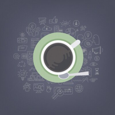 Bild Brainstorming Ideen mit Kaffee-Illustration