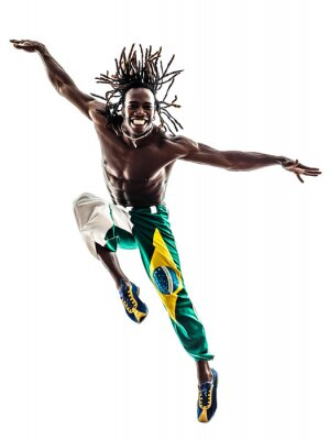 Bild brasilianische schwarze Mann Tänzer tanzen Silhouette Springen
