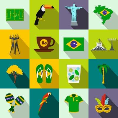 Bild Brasilien Ikonen flach