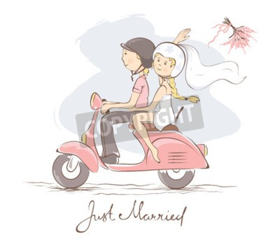 Bild Braut und Bräutigam auf einem Roller / Vektorillustration, Karte, Braut wirft den Blumenstrauß