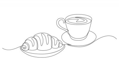 Bild breakfast with croissant and coffee drawn in one line style.