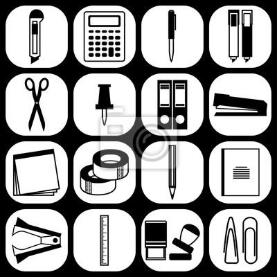 Briefpapier Symbole Set Von Briefpapier Liefert Icons Isoliert