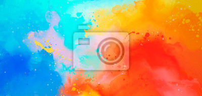 Bild bright Abstract watercolor drawing on a paper image