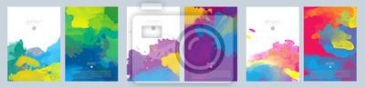Bild Bright colorful vector paint splash background template set for brochure, poster or flyer