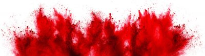 Bild bright red holi paint color powder festival explosion isolated white background. industrial print concept background