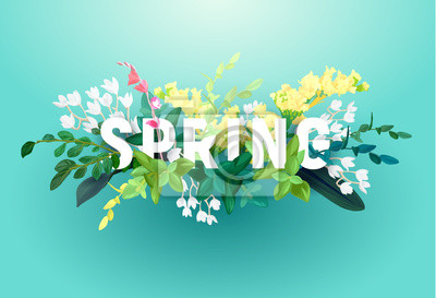 Bild Bright spring design on a blue background. A voluminous inscription with an ornament from flowers, green leaves and plant branches. Vector illustration.