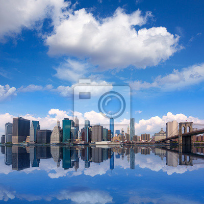 Bild Brooklyn Bridge And Manhattan Skyline New York