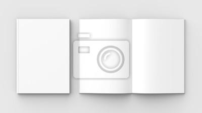 Bild Broschüren-, Zeitschriften-, Buch- oder Katalogspott oben lokalisiert auf weichem grauem Hintergrund. 3D-Darstellung.