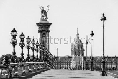 Bild Brücke Pont Alexandre III über der Seine und das Hotel des Invalides im Hintergrund am sonnigen Sommermorgen. Brücke verziert mit kunstvollen Jugendstillampen und Skulpturen. Paris, Frankreich