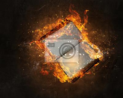 Buch mit leeren Seiten im Feuer