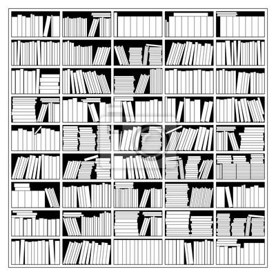 Bücherregal schwarz weiß  Bücherregal in schwarz-weiß. abbildung. leinwandbilder • bilder ...