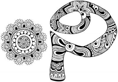Bild Buchstabe P verziert im Stil von mehndi