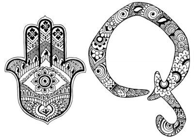 Bild Buchstabe Q im Stil von mehndi dekoriert