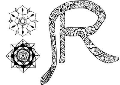 Bild Buchstabe R im Stil von mehndi
