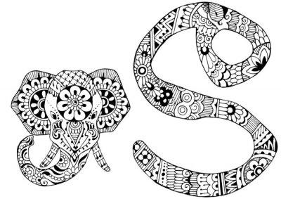 Bild Buchstabe S im Stil von mehndi dekoriert