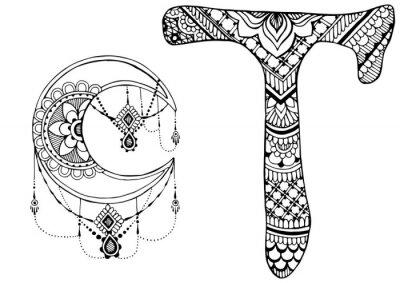 Bild Buchstabe T im Stil von mehndi dekoriert