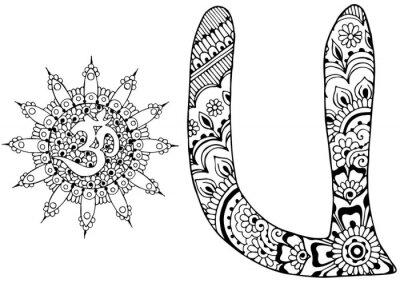 Bild Buchstabe U im Stil von mehndi dekoriert