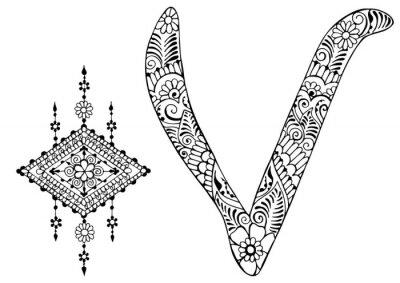 Bild Buchstabe V im Stil von mehndi dekoriert