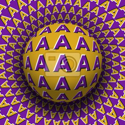 Buchstaben Eine gemusterte Kugel, die auf einer rotierenden Oberfläche rollt. Abstrakte Abbildung der optischen Illusion des Vektors. Bewegungshintergrund.