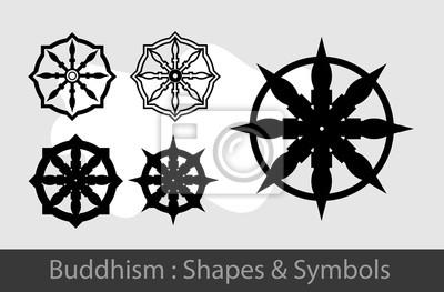 Buddhismus Symbole Leinwandbilder Bilder Insignien Sprach Dharma