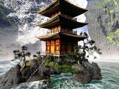 Bild Buddhistischen Tempel in felsigen Bergen