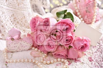 Bunch Of Pink Roses With Blank Card Leinwandbilder Bilder Schn