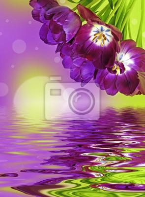 Bild Bündel von lila Tulpen und Bokeh Hintergrund