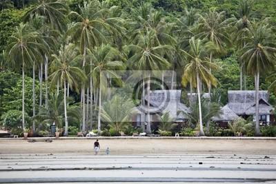 Bungalows auf einer tropischen Strand.