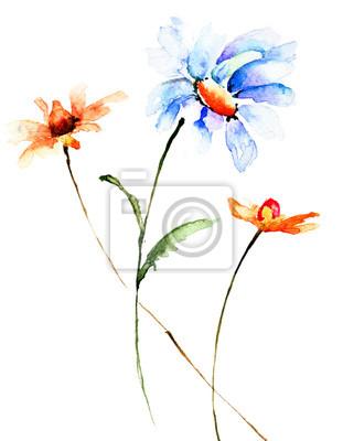 Bunte Aquarellillustration mit Sommerblumen