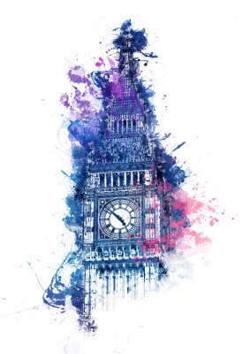 Bild Bunte Aquarellmalerei von Big Ben