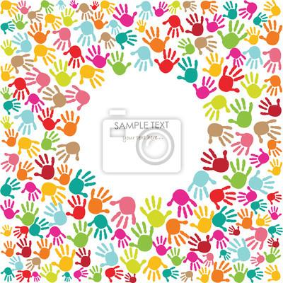 Bunte Baby Handabdruck Kinder Grusskarte Vektor Leinwandbilder