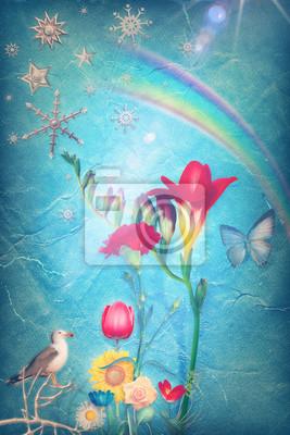 Bunte Blumen des Frühlings in den blauen Hintergrund