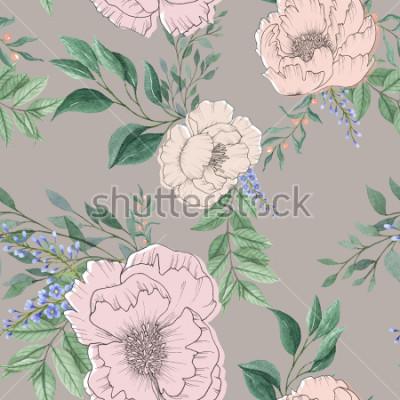 Bild bunte Blumenblume und Blätter der nahtlosen Aquarellhintergrundmischung mit Linie Kunst benutzt für Hintergrundbeschaffenheit, Packpapier, Textil oder Tapetendesign